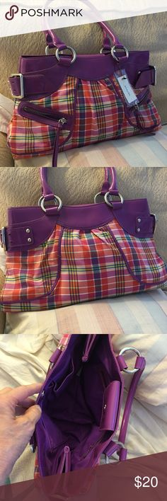 """Cute bag NWT Cute cloths and plastic bag very cute and colorful to zip pockets on front side mail to details when zipper pocket inside to slit pockets snap closure silver hardware 5 inch flat bottom8"""" deep 14"""" across Baker Bags Shoulder Bags"""