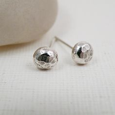 Hammered Sterling Silver Stud Earrings - Facets $38