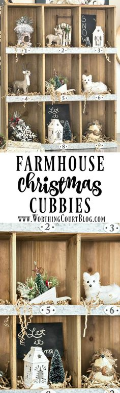 Rustic farmhouse style cubbies filled with tree ornaments for Christmas - Worthing Court