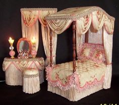 Pink and cream bedroom set that is very beautiful   DOLLHOUSE CANOPY BEDROOM SET...........•❤° Nims °❤•