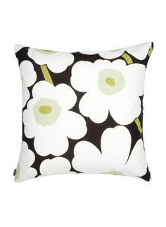 Pieni Unikko in Black and Green Cushion Cover .Buy all Marimekko cushions online in NZ and Aussie. Marimekko, Contemporary Pillows, Contemporary Home Decor, White Throw Pillows, Toss Pillows, Throw Blankets, Jackie Kennedy, Green Cushion Covers, Pillow Covers