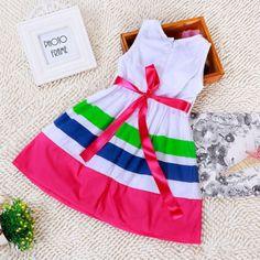 Baby-Kids-Girls-Princess-Dress-Toddler-Party-Stripe-Flower-Bow-Dress-Tutu-Summer