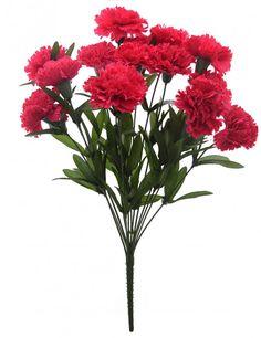 48 cm tall Artificial Carnation Bunch with 14 flower(Dark Pink)
