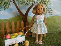 American Girl fitting doll dress for Easter - made for American Girl doll or similar 18 inch doll by SewCuteJune on Etsy
