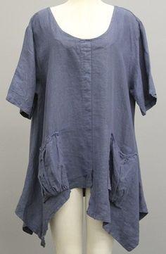 Labass Italy Designer Linen Lagenlook Artsy Asymmetric Pocket Tunic Blue$245 | eBay