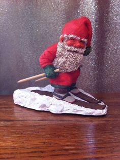 "Vtg Enesco Klaus Wickl Sandman Resin Xmas Red Santa Elf Skiing FIGURINE 4"" tall"