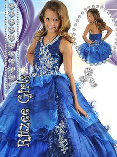 Sequin Beaded Halter Ritzee Girls Pageant Gown 6459|PageantDesigns.com