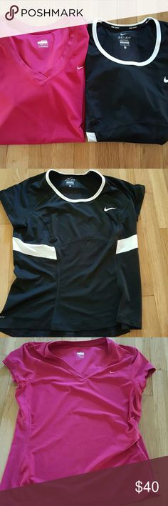 STACK OF 2 NIKE FIT DRY TOPS!! 2 tops, size large in red and black. Large. Great condition! Nike Tops Tees - Short Sleeve