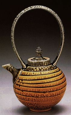 Porcelain Teapot, 13 inches with white slip and overlapping ash glazes, fired to Cone 10 in reduction by Richey Bellinger - Pottery Teapots, Teapots And Cups, Ceramic Teapots, Porcelain Ceramics, Ceramic Pottery, Ceramic Art, China Porcelain, Porcelain Dinnerware, Kintsugi