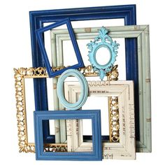 Create a stylish vignette over your mantel or define an accent wall with this charming set of upcycled open-back frames, showcasing cool-hued finishes for a ...