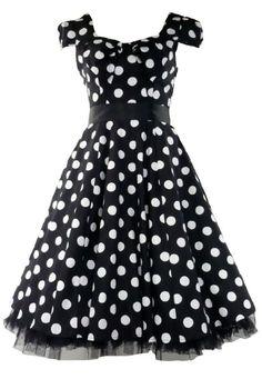 Amazon.com: 50s Vintage Tea Prom Dress Big Polka Dot Black & White XS = 4 (US), 8 (UK): Clothing