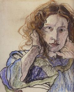 Stanisław Wyspiański Pastel Portraits, People Art, Gravure, Female Portrait, Abstract Expressionism, Pretty Pictures, Art Boards, Pastels, Painting & Drawing