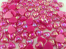 DIY 50pcs Rose  AB heart Flatback Resin Cabochon Scrapbooking 9.00MM @90