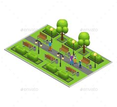 Isometric city park concept with walking people green trees bushes lanterns and benches vector illustration. Editable EPS and Rend