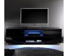 Meuble TV noir - Meuble design - meuble-et-canape.com #meubletv Deco, Flat Screen, Black Tv Stand, Tv Consoles, Blood Plasma, Decoration, Flatscreen, Deko, Decor