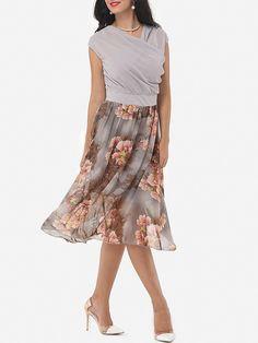 V Neck Dacron Floral Hollow Out Skater-dress Only $25.99- fashionme.com…