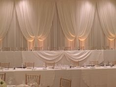 Nicpon Productions is a Chicago Wedding DJ, event lighting and décor company that specializes in elegant, contemporary wedding and social events. Head Table Backdrop, Fabric Backdrop, White Backdrop, Fabric Decor, Wedding Dj, Wedding Ideas, Chicago Wedding, Valance Curtains, Backdrops