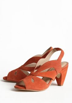 Perfect orange color.  Great heel height.  I think these might need to be ordered.
