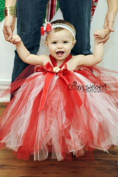 I need one of these for a 9 year old princess ballerina!  CHRISTMAS Holiday TUTU  Dress Newborn to 18mo. Bow included on a clip or a headband. via Etsy.