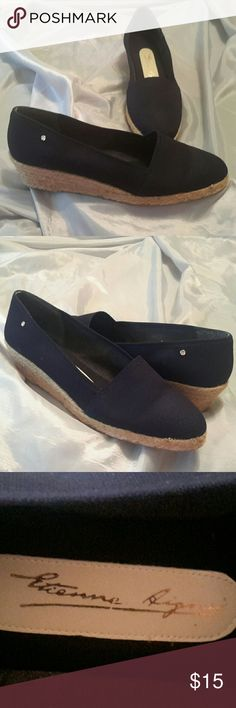 Navy Espadrill wedge shoes Vintage, size 9.5 Etienne Aigner Shoes Espadrilles