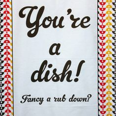 This Tea Towel is part of Chloe Owens' newly designed range and incorporates her new signature patterns. Made from cotton and features the cheeky message! 1960s Inspired, Tea Towels, Chloe, Dining Room, Range, Messages, Dishes, Patterns, Kitchen