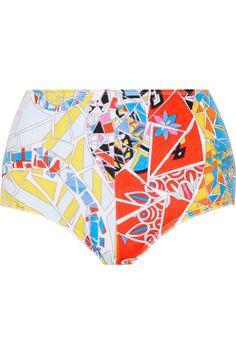 EMILIO PUCCI Printed Cotton-Blend Terry Bikini Briefs. #emiliopucci #cloth #briefs