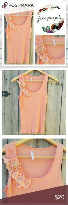 Free People Embellished Tank Sz S Adotable embellished tank by Free People in peach with lace and ribbon detail. Ribbed cotton knit. Very good previously loved condition. Bundle and save!  Sorry no trades. Free People Tops Tank Tops