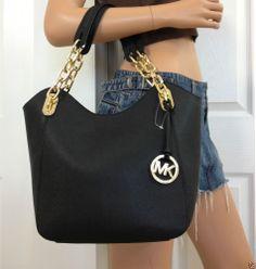 NWT Michael Kors Lilly Medium Black Saffiano leather Tote Shoulder Bag Purse