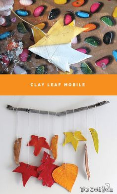 Use Autumn leaves as templates to create a pretty clay leaf mobile