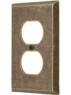 traditional single duplex cover plate in forged brass house of antique hardware