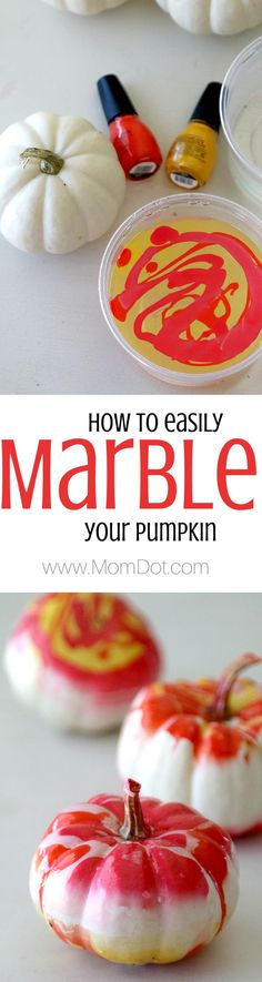 Marbling a pumpkin, perfectly easy for all holiday fall decor and personalize to pick your own statement colors! Love this thanksgiving and winter craft, inexpensive and forgiving craft, DIY!: