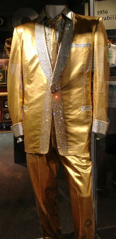 """early 1956 """"GOLD"""" costume                                    Costumes and Awards of Elvis Presley at Graceland, Memphis, Tennessee -"""