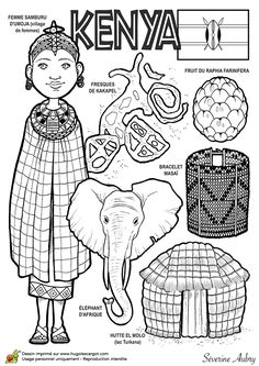 Coloriage d'un pays du Monde, le Kenya Coloring page of a country of the world, Kenya People Of The World, Countries Of The World, World Cultures, Colouring Pages, Coloring Sheets, Coloring Books, Coloring Worksheets, Cultures Du Monde, Little Passports
