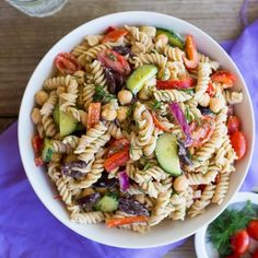 This Creamy Tahini Greek Pasta Salad is mayo-less and so delicious!