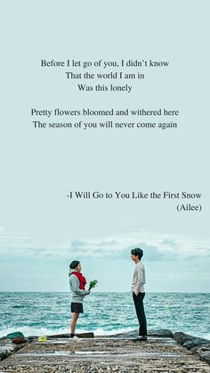 Goblin OST: I Will Go To You Like The First Snow by Ailee Lyrics wallpaper Goblin OST: I Will Go to You Like the First Snow by Ailee Lyrics wallpaper - Unique Wallpaper Quotes K Quotes, Lyric Quotes, Movie Quotes, Quotes Drama Korea, Korean Drama Quotes, K Wallpaper, Love Quotes Wallpaper, Unique Wallpaper, Goblin Kdrama Quotes