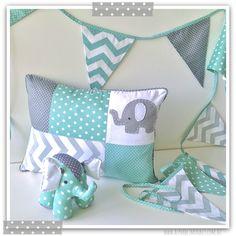 Mint and grey elephant nursery range by alphabet monkey. www.alphabetmonkey.com.au