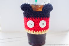 Mickey Mouse-Inspired Coffee Cozy - fee crochet pattern at Wild & Wanderful Blog