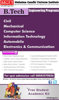 #Institute #Btech #MGUI -B.tech in Civil Engineering, Electronics, Mechanical,Computer Science and more specialization are offered here .Also there are higher studies options after B.tech.  Duration is 4 years. Eligibility Criteria: 10 +2 in science stream with Maths. For more Information about B.tech Course visit Online:  www.ddit-mgui.com Or Call Us +91-09565448844, +91-08739075754