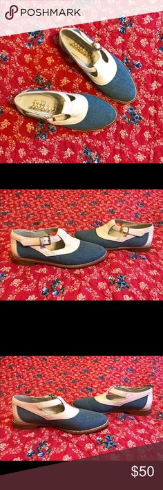 Leather and denim loafers Size 8. By Modcloth. Leather and denim. Too narrow for me so I only wore once😩 These are in fantastic condition with only light scuffing in sole. Modcloth Shoes Flats & Loafers