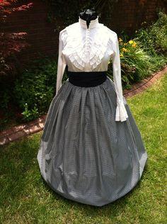 Civil War Skirt,Victorian,Renaissance,Dicken's costume Long Navy and White Check Skirt with Navy Sash