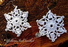 Snowflakes earrings Xmas Winter crochet jewelry Christmas