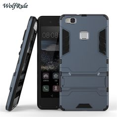 Cover For Huawei P9 Lite Case Dual Layer Hard Plastic Anti-Knock Coque Holder Stand Phone Cover Case For Huawei P9 Lite < >