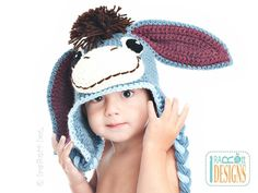 (4) Name: 'Crocheting : Funky Donkey Hat with Tail Hat Pattern