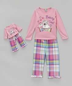 Look what I found on #zulily! Pink Plaid Pajama Set & Doll Outfit - Girls #zulilyfinds