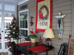 valentine wall hanging decorations on porch
