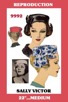 Sally Victor 60s Vintage VOGUE 9992 HATS Millinery Fabric Sewing Pattern PILLBOX