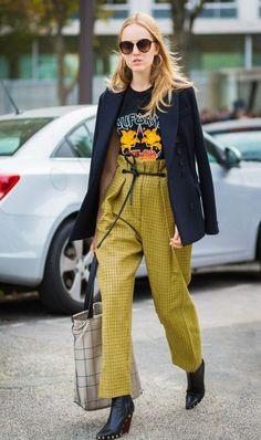 vintage tee + blazer + high waist trousers