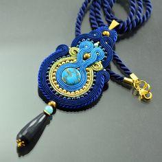 Soutache Pendant Antoinette's Secret, Blue Pendant, Navy Blue Pendant, Gold Statement Necklace, Gold Blue Ethnic Pendant, Collier Soutache, by OzdobyZiemi on Etsy