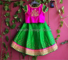 Green Pure raw silk lehenga paired with hand embroidered pink blouse. Color and size can be customised. Girls Frock Design, Kids Frocks Design, Baby Frocks Designs, Kids Party Wear Dresses, Dresses Kids Girl, Baby Dresses, Kids Outfits, Baby Girl Lehenga, Kids Lehenga