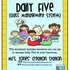 Daily Five Class Management System:This document includes resources you can use to manage Daily Five in your classroom.  The cards and labels mak...